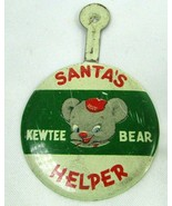 1950s Vintage Fold Over Tab Button KEWTEE BEAR Santa's Helper For Plush ... - $28.54