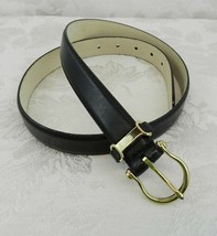 Chelsea Cambell Black Leather Belt Size 34 Gold Buckle - $17.81