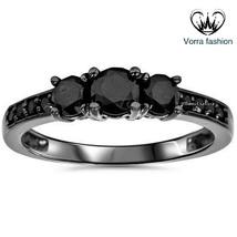 Three Stone Wedding Ring In Round Cut Diamond 14k Black Gold Finish 925 Silver - $72.99