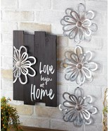 Wood & Metal Decor Accent FLOWER Home Wall Plaques Sign or Set 3 Wall Sc... - $14.63