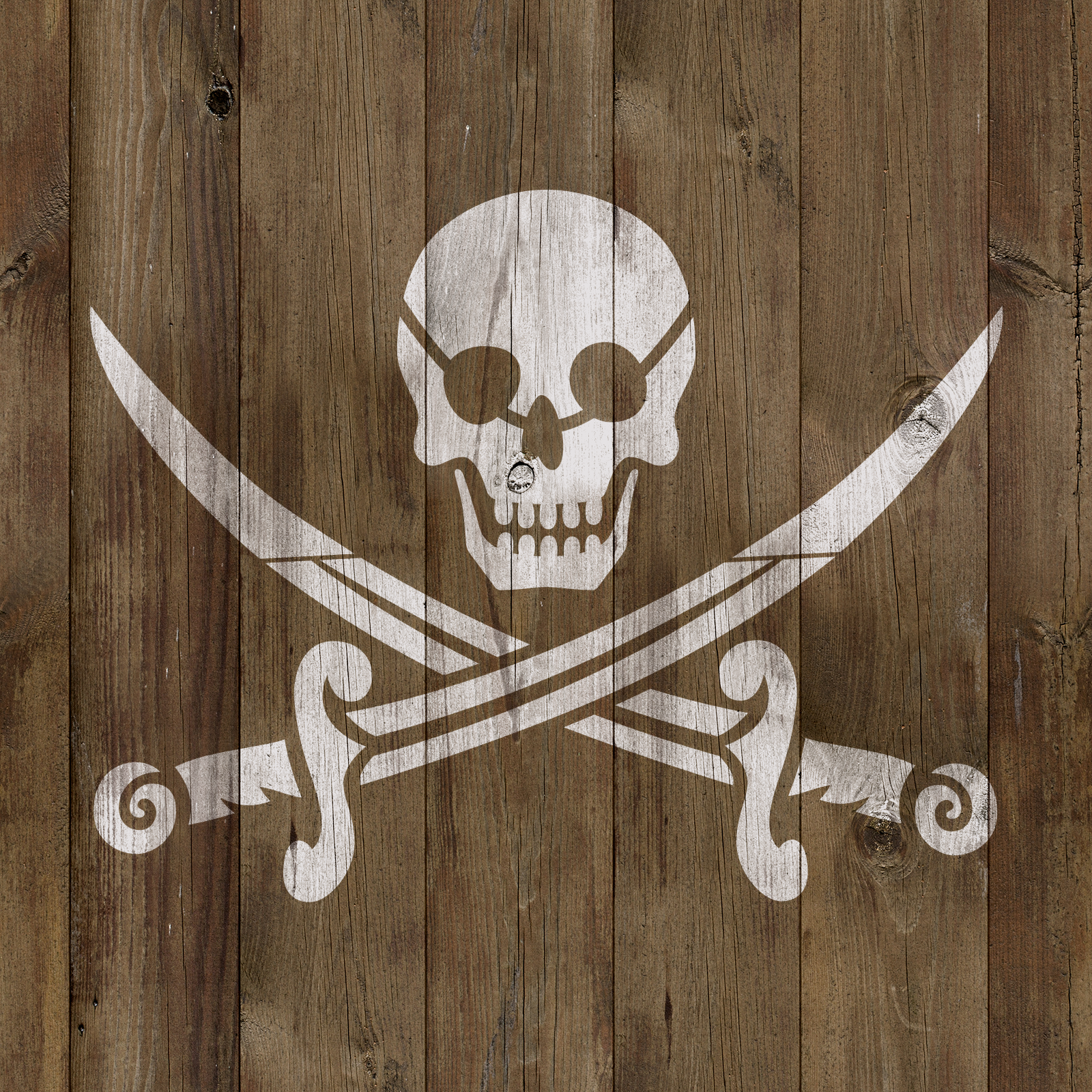 Pirate Stencil - Reusable Stencils of a Pirate Flag in Small & Large Sizes