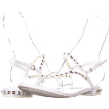 Marc Fisher Pamali Studded Flat Sandals 951, Ivory, 9 US - $28.79