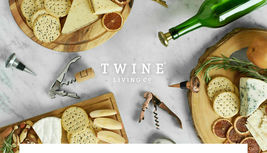 Twine Living Wood & Ceramic Cheese Board Gift Set Gourmet cheese board NEW image 4