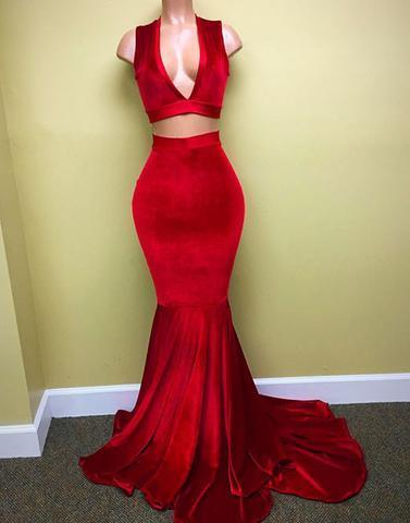 red two pieces mermaid long prom dress,v-neck evening dresses,BD172609