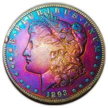 1893 O MORGAN SILVER DOLLAR RAINBOW TONING, KEY DATE * 482 - $338.10