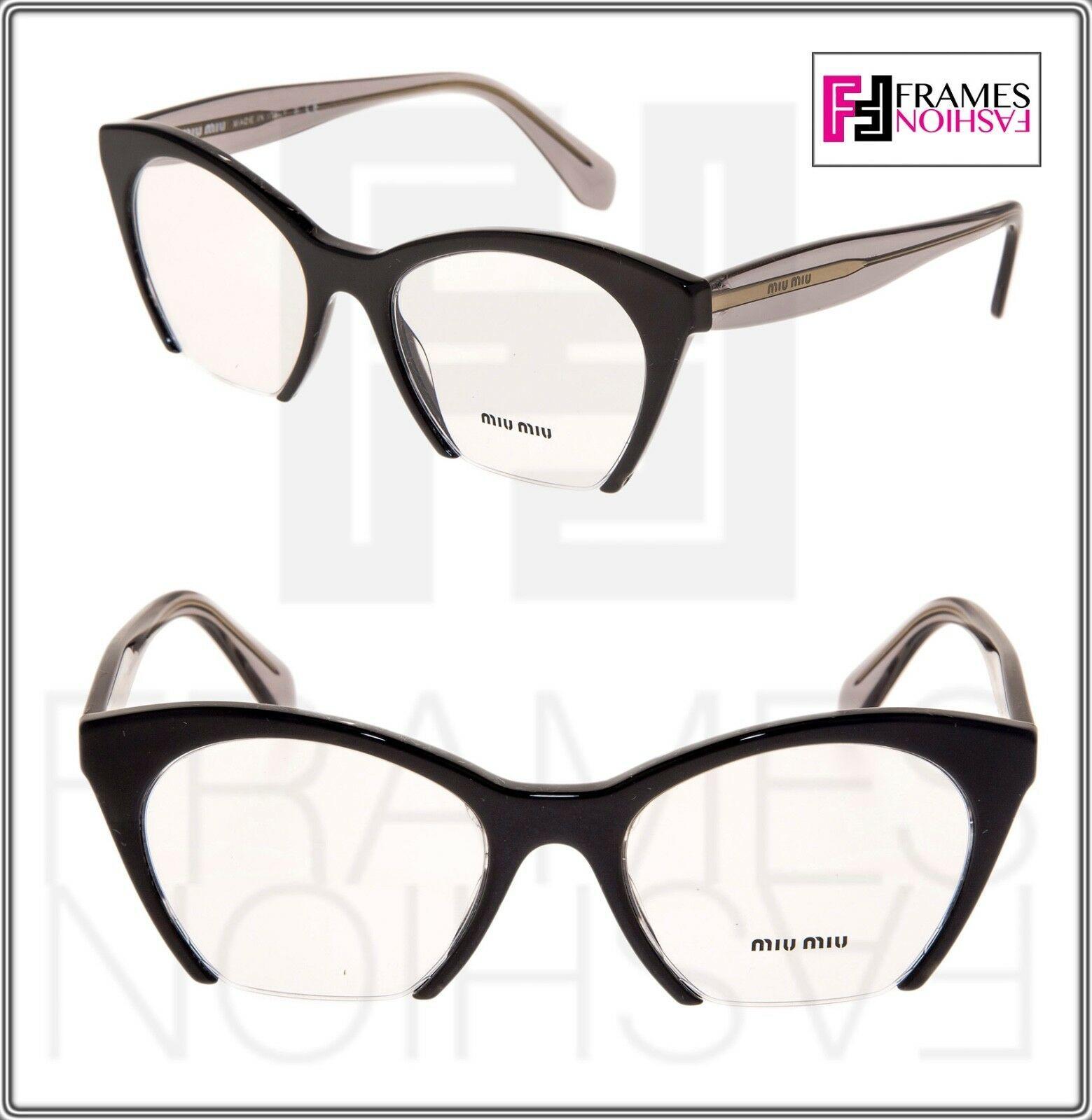MIU MIU RASOIR MU03QV Eyeglasses Optical Frame Black Grey Translucent 51mm 03Q