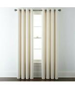 (1) JCPenney Liz Claiborne Quinn Basketweave IVORY Grommet Curtain 50x84... - $46.42