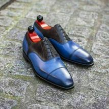 Handmade Men's Blue And Black Two Tone Lace Up Dress/Formal Leather & Suede Shoe image 3