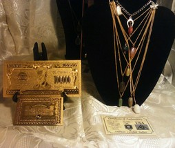 <>US SELLER~ 8Pc.GENUINE GEMSTONE Necklaces+GOLD$100K+CHARM Bracelet+SILVE - $20.02