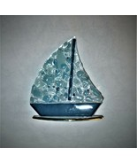 Glass SAILBOAT Murano Art Deco Collection Sail Boat Blue Clear Gold Box Vintage - $23.75