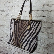 Coach Women's Madison Tote Handbag Large Zebra Print Brown Multi & Gold ... - $140.24