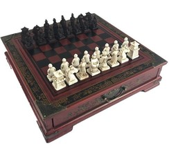Wooden Table Chess Chinese Retro Terracotta Warriors Carving Resin Chessman - $86.23