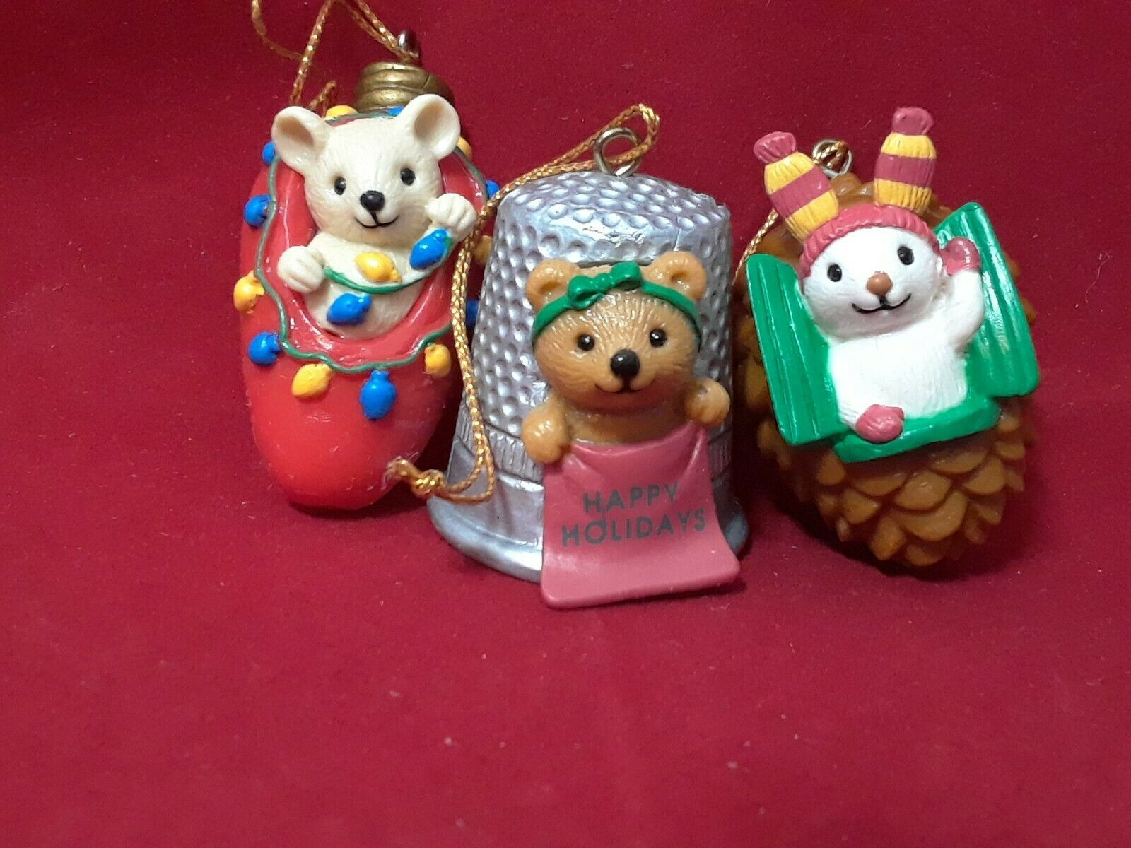Avon Christmas Cutie Ornaments~THIMBLE TEDDY~LIGHT BULB MOUSE~PINE CONE BUNNY