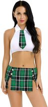 dPois Womens School Girl Cosplay Fancy Dress Costume Crop Top with Plaid Mini Sk image 10