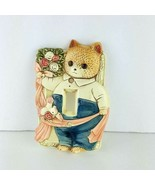 Takahashi Japanese Kitty Ceramic Light Switch Plate Cover Bird Flowers Cat - $32.66