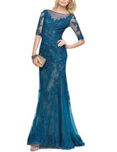 Women's Elegant Lace Applique Formal Party Gown Beaded Long Sleeve Evening Dress - $118.96