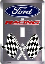 Ford Racing Checkered Flags Aluminum Novelty Single Light Switch Cover - $7.95