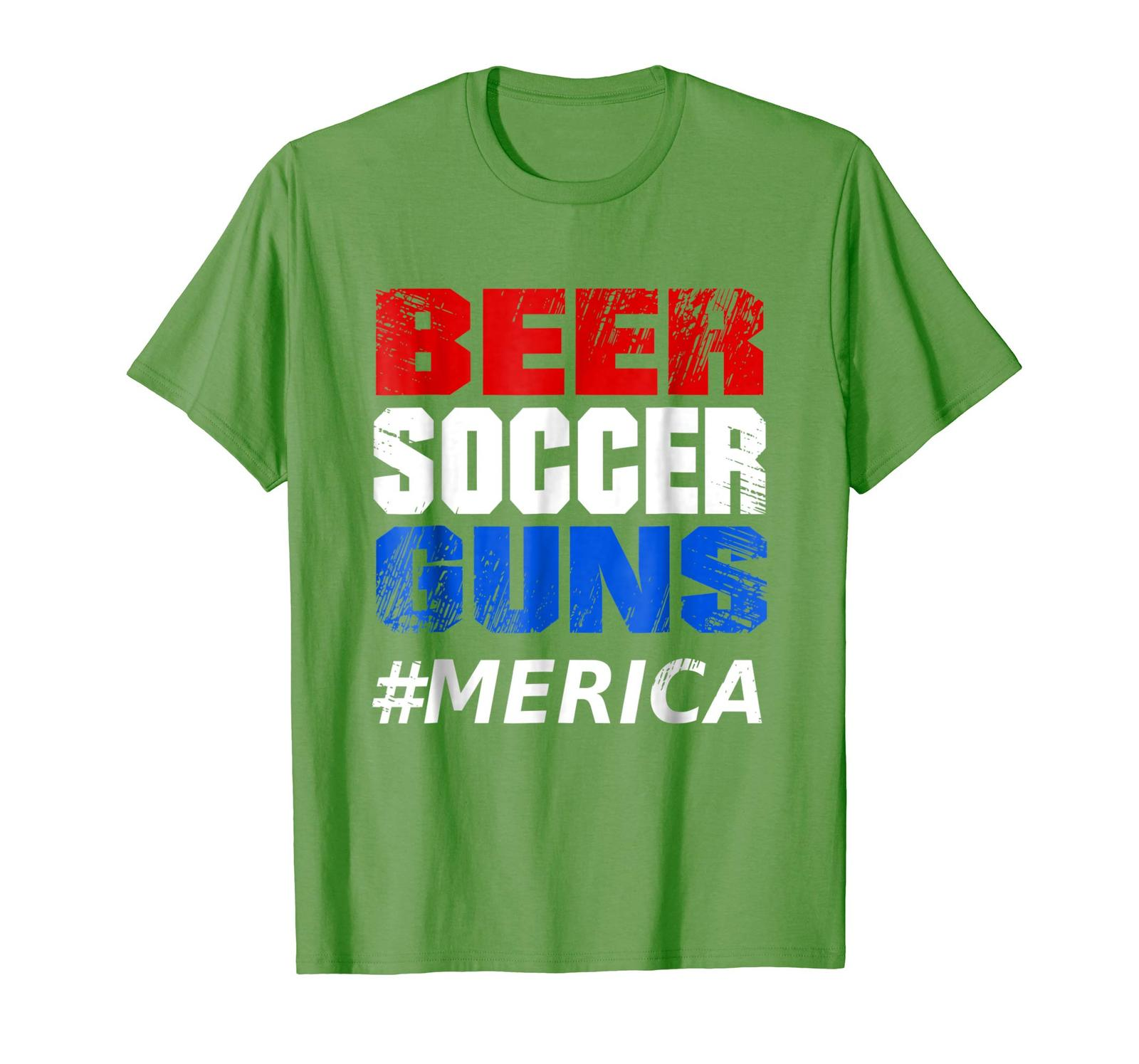 Primary image for New Shirts - Beer Soccer Guns #Merica Funny T-Shirt Gift Men