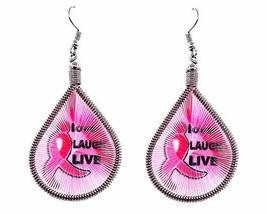 Mia Jewel Shop Breast Cancer Pink Ribbon Graphic Teardrop Thread Dangle ... - $7.83