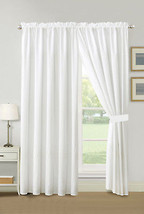 4-Pc Cedar Line Connected Dot Circle Embroidery Curtain Set White Sheer Liner - $40.89