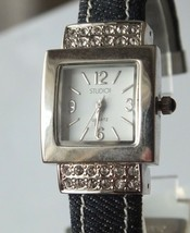 Studio Ladies Crystal Silver Dial Black Leather Band Watch, New Battery - $10.66