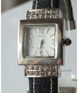Studio Ladies Crystal Silver Dial Black Leather Band Watch, New Battery - $10.99