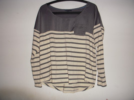 Tommy Hilfiger Womens Charcoal grey Cream Stripe Long Sleeve Knit Pullover Top L - $9.90