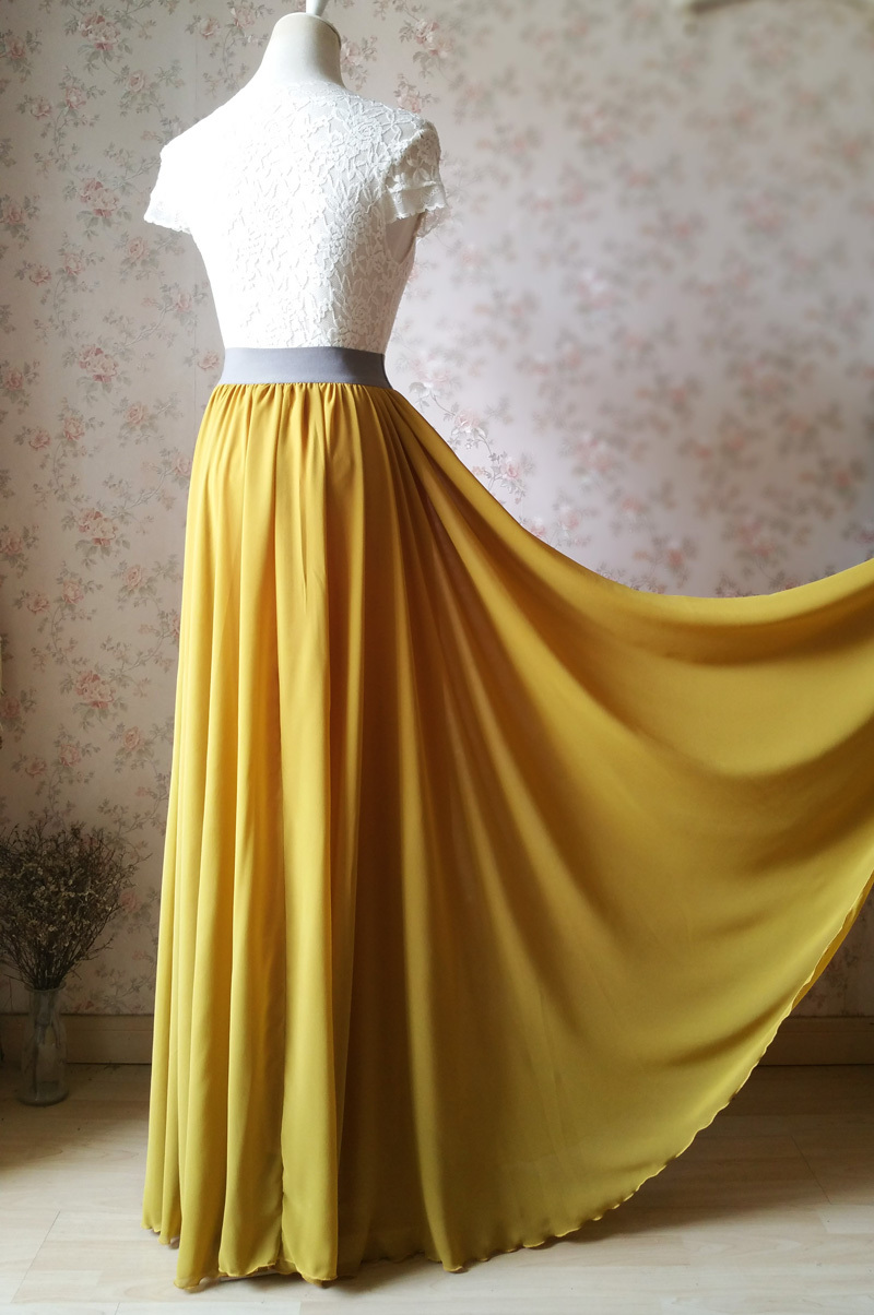 Full Maxi Skirt YELLOW Chiffon Skirt Floor Length Chiffon Maxi Bridesmaid Skirts