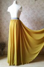 Yellow Rust Maxi Chiffon Skirt Outfit Floor Length Bridesmaid Chiffon Skirt image 4