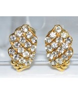 VTG TRIFARI Signed Gold Tone Clear Rhinestone Clip Earrings (B) - $29.70