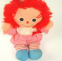 """Raggedy Ann Vintage Doll Playschool 1989 Pink with white hearts Outfit 10"""" - $12.86"""