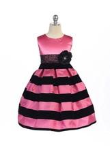 Posh Hot Pink Black Stripes Pageant Flower Girl Dress Crayon Kids USA - $48.49