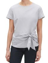 Banana Republic Womens Gray Stripe Tie Front Short Sleeve Blouse Large L... - $46.27