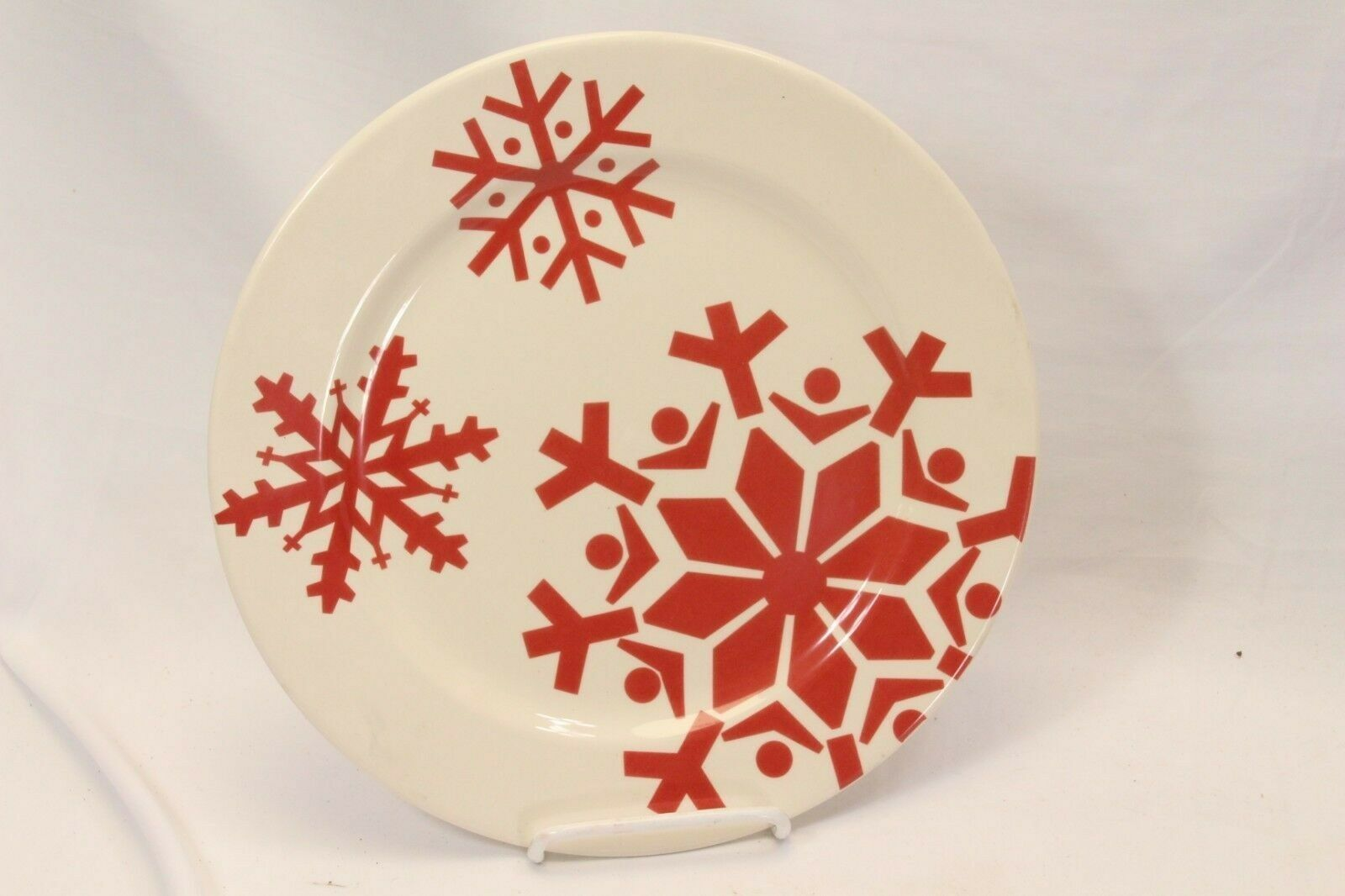 "Canterbury First Frost Red Snowflake Xmas Dinner Plates 10.75"" Lot of 8 image 2"