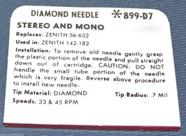 STEREO PHONOGRAPH RECORD NEEDLE STYLUS replaces ZENITH 56-632 142-182 899-D7 image 2