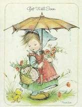 Vintage Get Well Card Girl with Umbrella Duck Annaliese Unused Envelope - $9.89