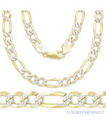 Italy .925 Sterling Silver 14k Yellow Gold 6.8mm Figaro Link Chain Pave Necklace - $95.77 - $139.58