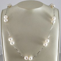 Necklace 18kt white gold with white pearls round 8.5mm diameter image 1