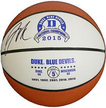 Jahlil Okafor signed Duke Blue Devils 2015 National Champs White Logo Ba... - $94.95