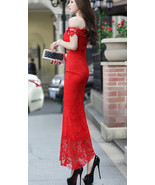 88F069 sweet high slit Bohemian ballgown,free size, red - $29.99