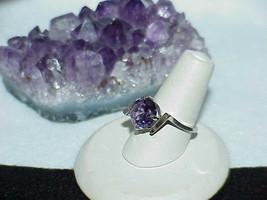 10K White Gold 2.75ct Bolivian Amethyst Ring  3.7Gr Size 6.5 Modernist V... - £212.97 GBP