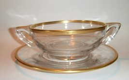 Handled Cream Soup Bowl Plate Clear Gold Band Art Deco - $27.72