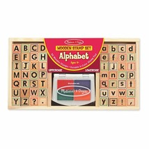 Kids Wooden Alphabet Stamp Set Washable Non Toxic Inks 56 Block Style Stamps NEW - $36.80