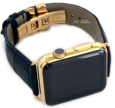 24K Gold Apple WATCH 42MM Stainless Steel Case Black Leather Band Deploy... - $699.00