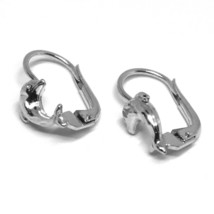 18K WHITE GOLD KIDS EARRINGS, HAMMERED DOLPHIN, LEVERBACK CLOSURE, ITALY MADE image 2