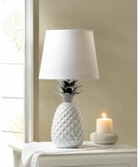 """WHITE PINEAPPLE Table Lamp Topped with Spiked Silver Leaves 19"""" - $43.89"""