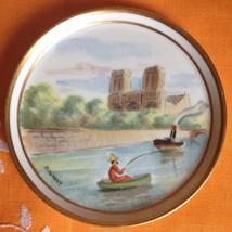 Antique Limoges France Hand Painted Plate Norte Dame Et La Siene Paris - $75.00