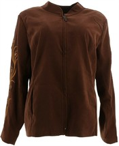 Bob Mackie Faux Suede Jacket Rhinestone Embroidery Brown M NEW A298765 - $18.78