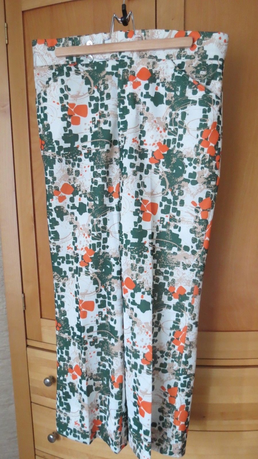 VINTAGE 70'S MEN'S POLYESTER DOUBLE KNIT MOD DISCO PANTS SLACKS SZ 34