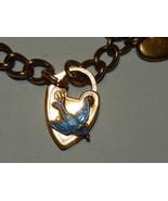 Victorian Enamel Blue Bird Baby Bracelet Heart Charms & Lock 9.3 Grams 6... - $169.99